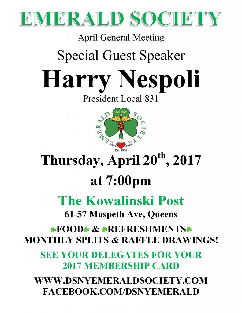 4-20 Emerald Society General Meeting