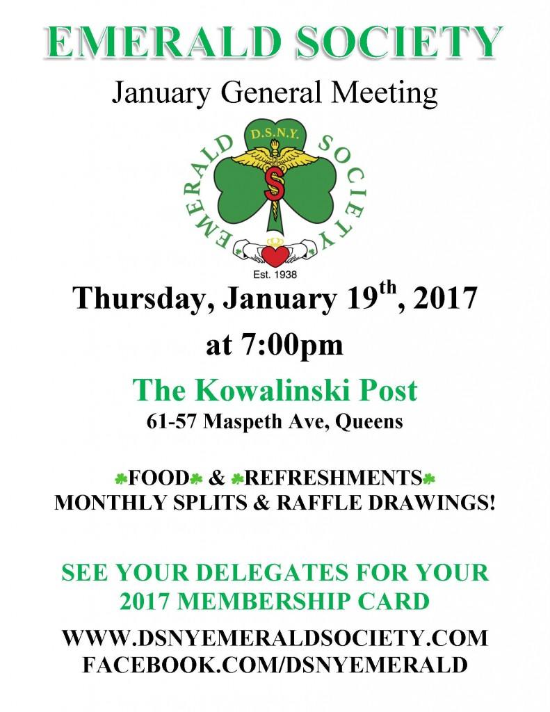 01-19-17 MONTHLY EMERALD SOCIETY