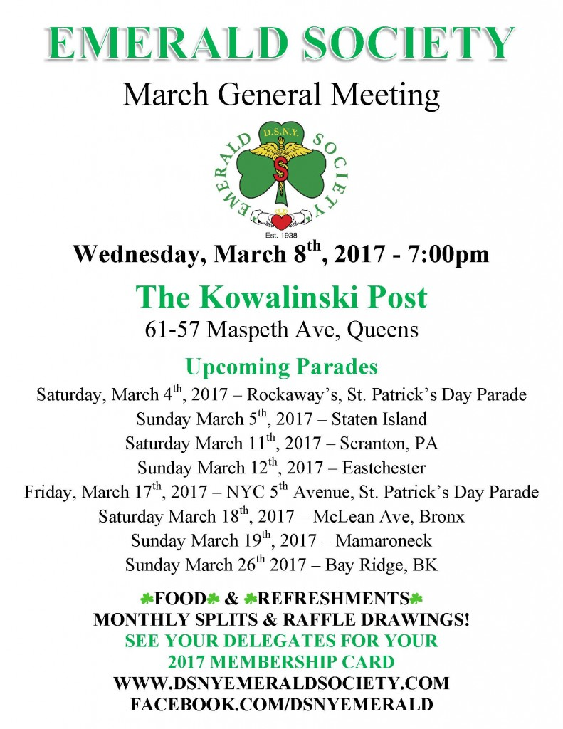 03-08-17 MONTHLY EMERALD SOCIETY